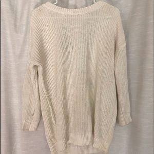 Forever 21 White Backless Marled Knit Sweater